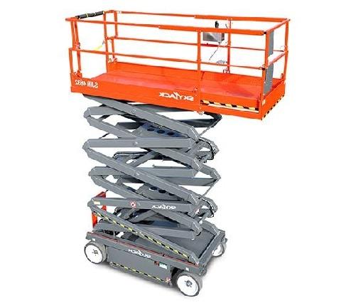 plataforma de tijera con cesta desplegable